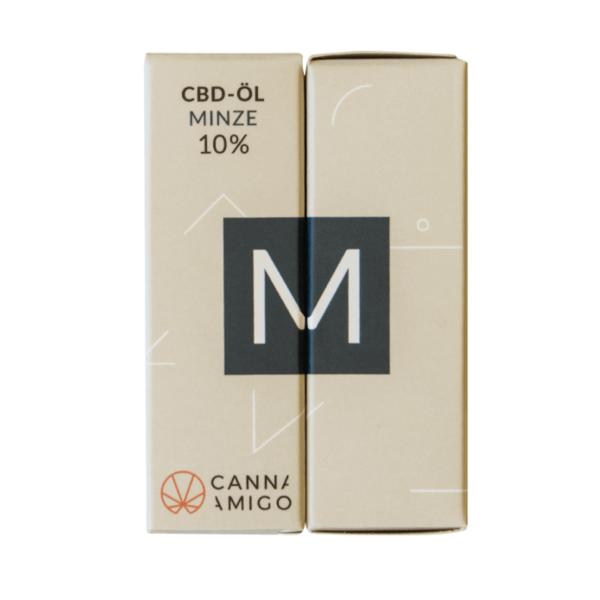 CBD-Öl 10% mit Minze Geschmack von Cannamigo in der Verpackung