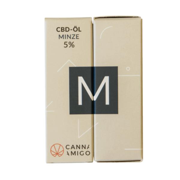 CBD-Öl 5% mit Minze Geschmack von Cannamigo in der Verpackung